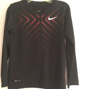 Nike DRI FIT Long Sleeve Shirt BLACK/RED Boys 6